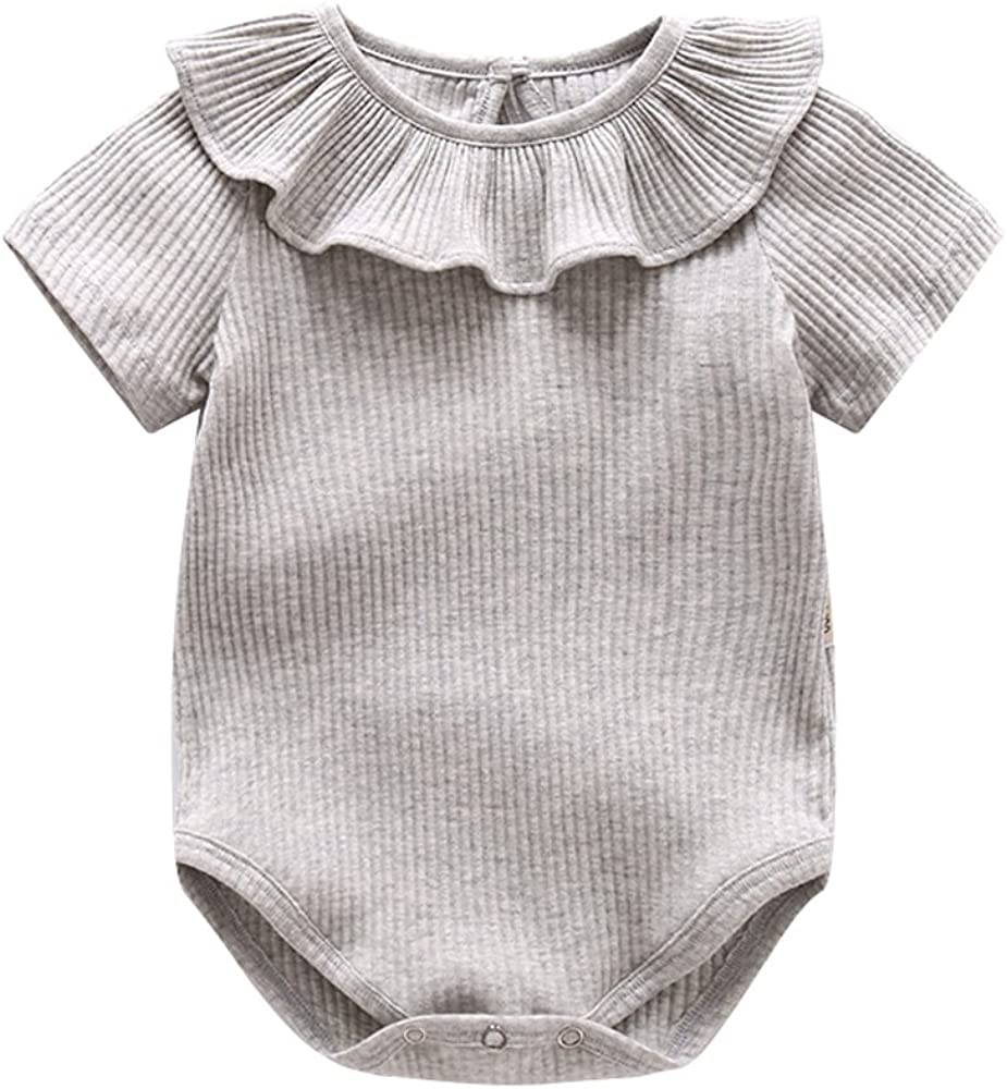 Ding-dong Baby Girl Summer Princess Ruffle Solide Romper(Grey,9-12M)