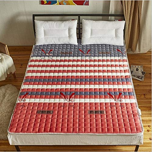 Nileco Quilted Mattress Topper with Straps,Washable Futon Mattress Foldable Tatami Mat Home Student Dormitory Breathable Mattress Pad -f Queen