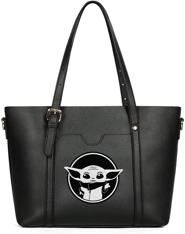 Baby-Yoda-design-logo- Leather Purses Women's Burglar Shoulder Tote Bags