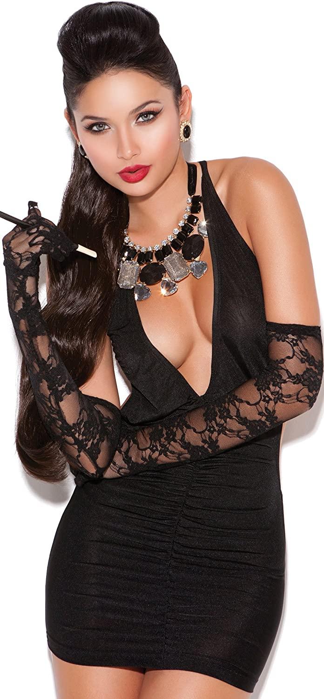 Sexy Deep V Halter Style Opaque Mini Dress(One Size, Black)