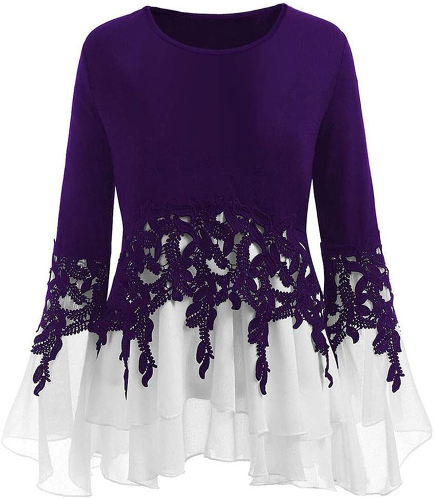Woman Elegant Round Neck Blouse Sweatshirt, Ladies Blouse and Shirt Long Sleeve Casual Chiffon Lace Pullover Sweater t-Shirt Crop Tops Purple