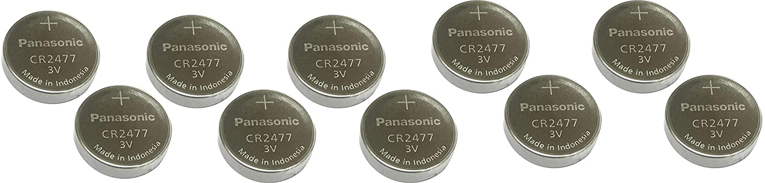 Panasonic 1 Box (10 Individual Packaging Batteries) CR2477 Lithium 3 V Coin Cell Batteries