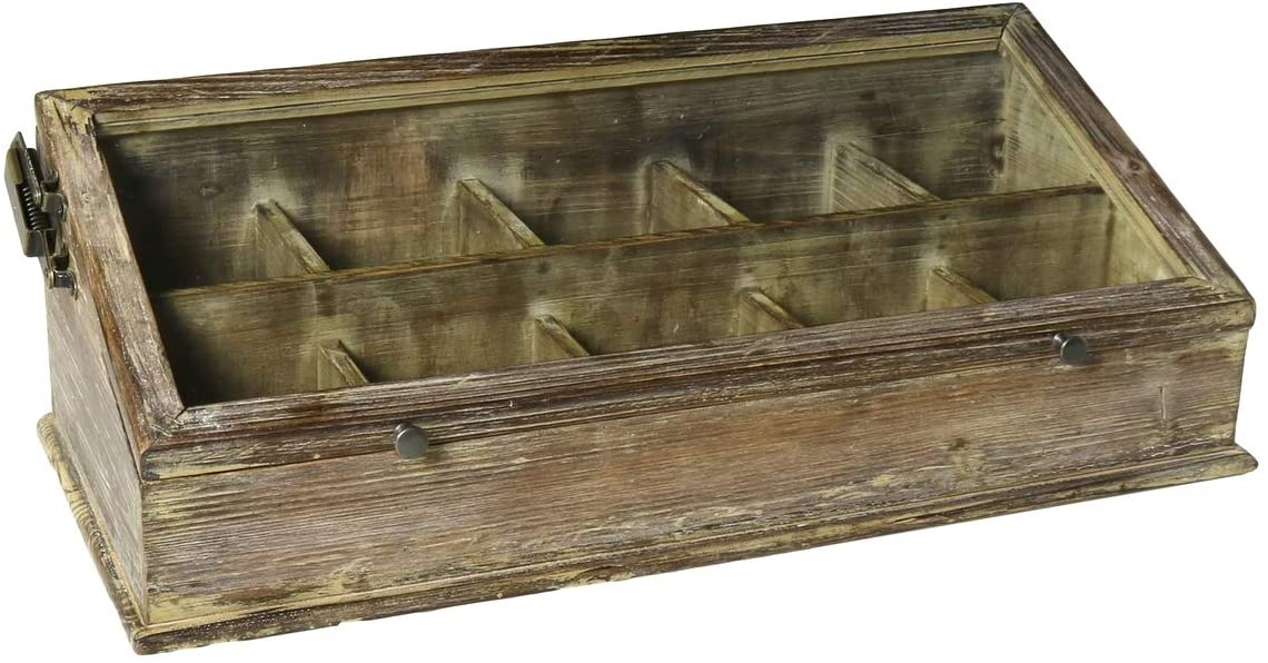 MY SWANKY HOME Vintage Antique Style Wood Glass Tabletop Display Case | Hinge Lid Divided