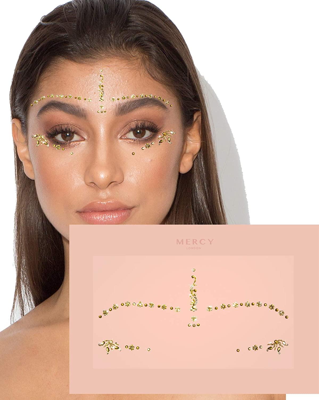 Gwen Gold Bindis ✮ MERCY LONDON Crystal Indian Bindi Face Jewels Gold Silver Multi Packet
