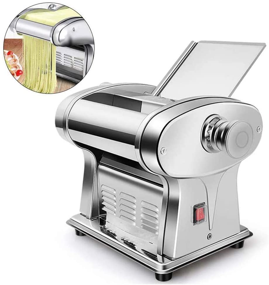 CHENJIU Pasta Machine, Automatic Electric Noodle Machines Multifunctional Stainless Steel Perfect for Professional Homemade Spaghetti and Fettuccini