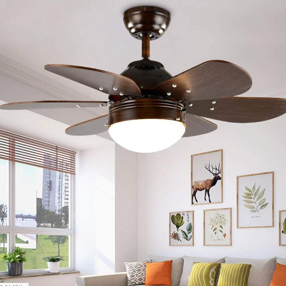 YAOLAN 7638CM Ceiling Fan with Lamp with Remote Control Timing 5 Wood Leaf 3 Speeds for Bedroom Study Living Room White