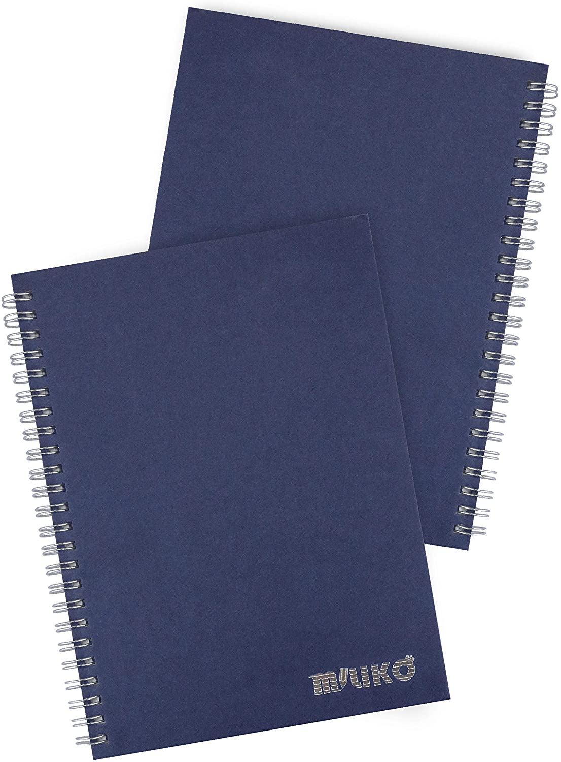 Miliko A5 Size Kraft Paper Hardcover Ruled Wirebound/Spiral Notebook/Journal-2 Notebooks Per Pack-70 Sheets (140 Pages)-8.27 Inches x 5.67 Inches(Silver Binding Rings, Blue Ruled)