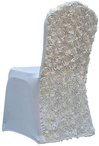 Shengjing Elegant Rose Flower Polyester Spandex Banquet Wedding Party Chair Covers (White)