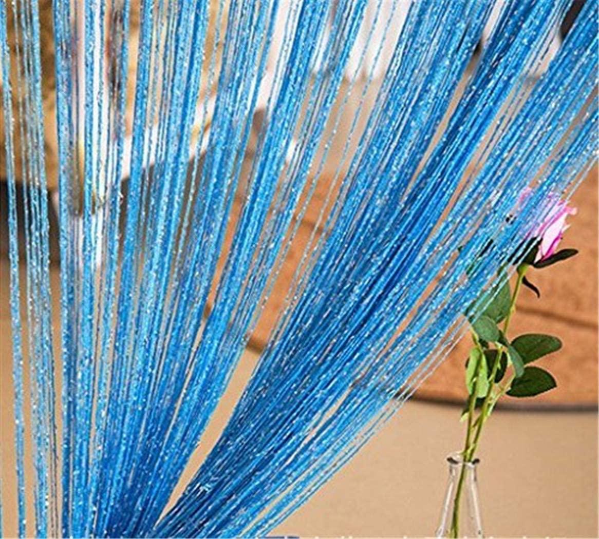 Decorative door curtain wall panel stripe window partition divider blind separator tassel screen home 100x200centimete (pink) (blue)
