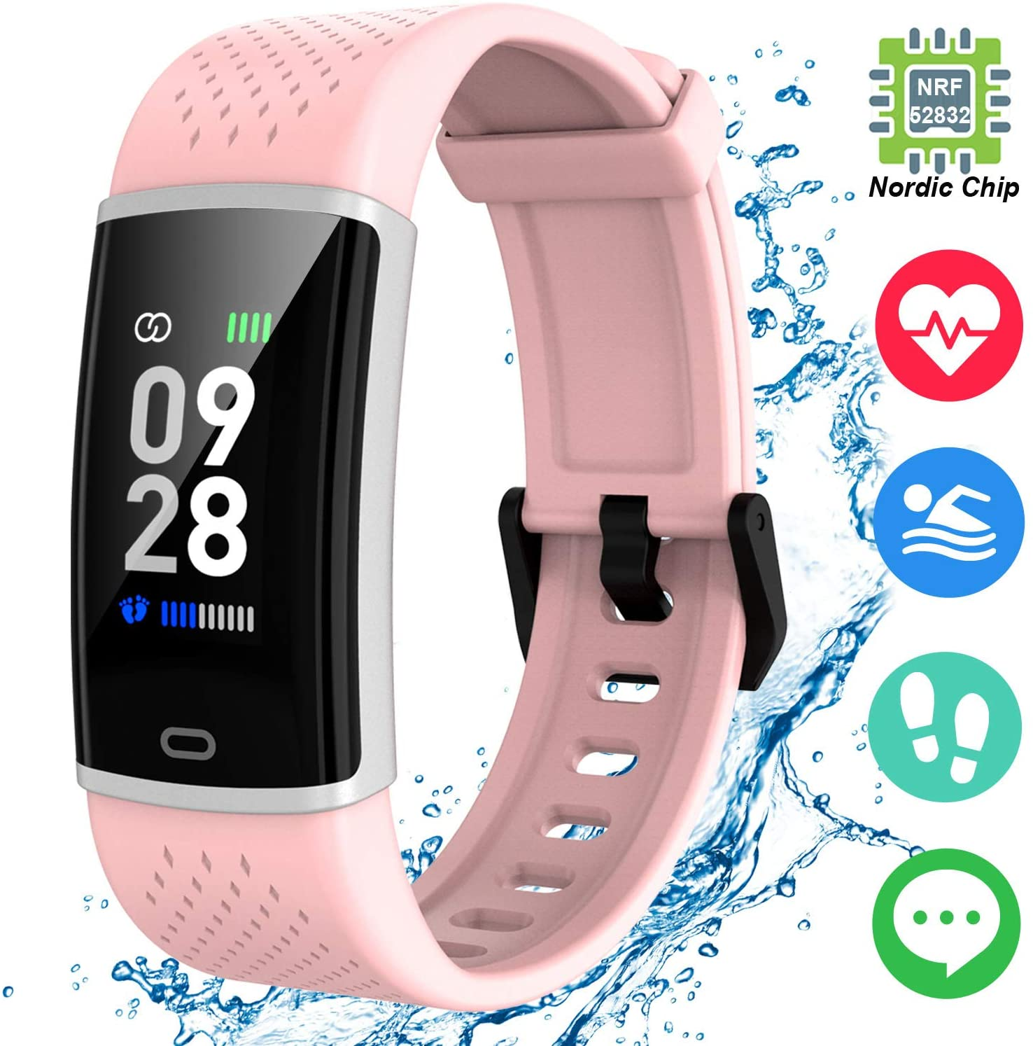 Jogfit Fitness Tracker with Heart Rate Monitor Waterproof Activity Tracker Smartwatch, Health Sport Watch with Calorie Counter, Sleep Tracker, Step Pedometer for Men Women Kids