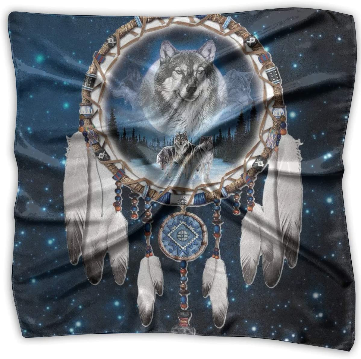 Wolf and Indian Dream Catcher Women Fashion Square Handkerchief Soft Neck Scarf