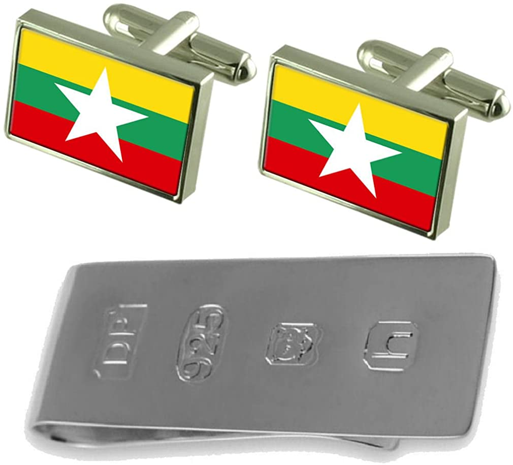 Select Gifts Burma Flag Cufflinks & James Bond Money Clip