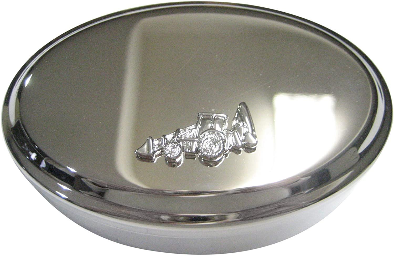 Kiola Designs Silver Toned Heavy Machinery Excavator Digger Machine Oval Trinket Jewelry Box