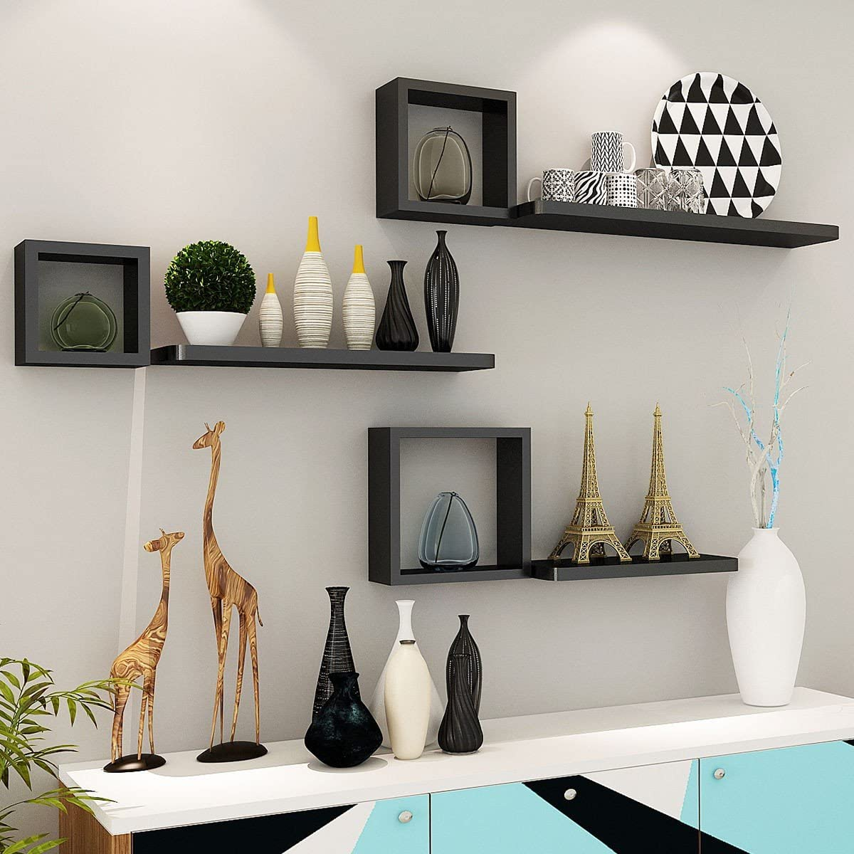 Floating Wall Mounted Shelves Set Of 6 Home Great For Kitchen, Dining Room, Living Room Or Office Which Will Save Storage And Decorate Modern