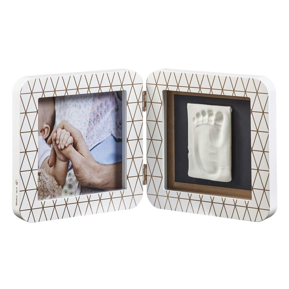 Baby Art My Baby Touch Photo Frame 2 Frames with Footprint Kit for Hand or Foot of The Newborn, White Color, Special Edition Copper