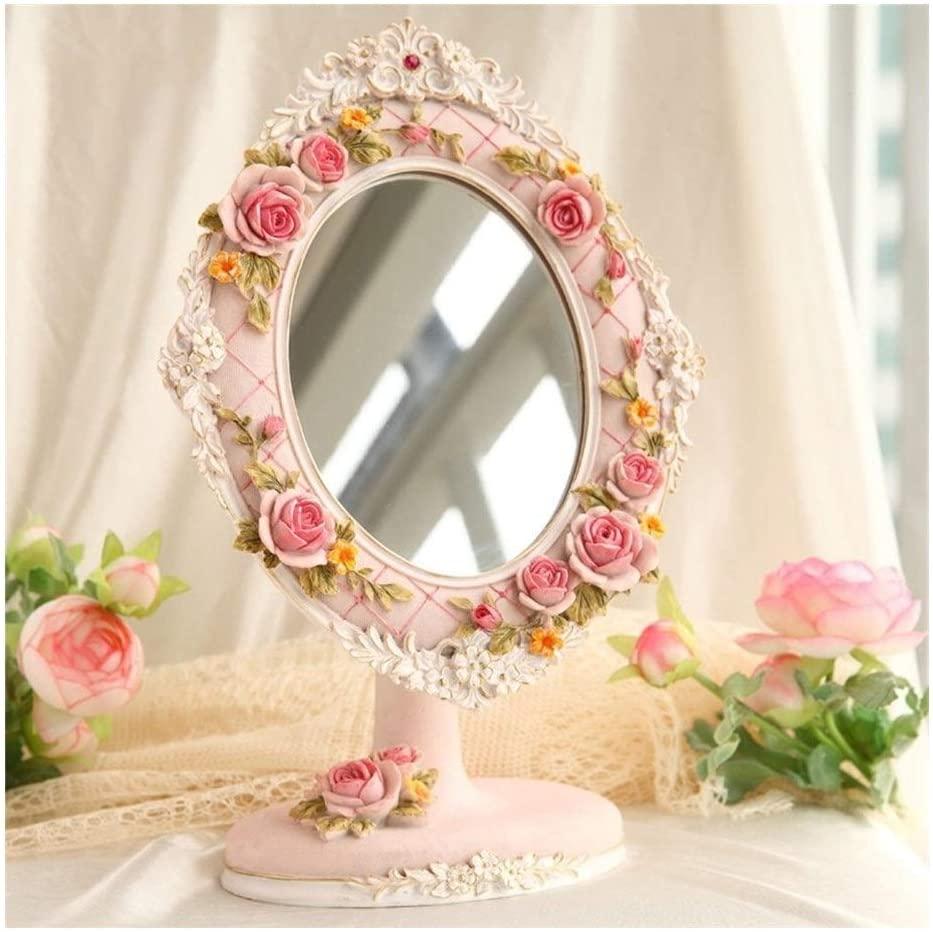 Portable HD Single-Sided Resin Makeup Beauty Mirror,Desktop Vanity Mirror Adjustable Bathroom Sweet Mirror AN1014