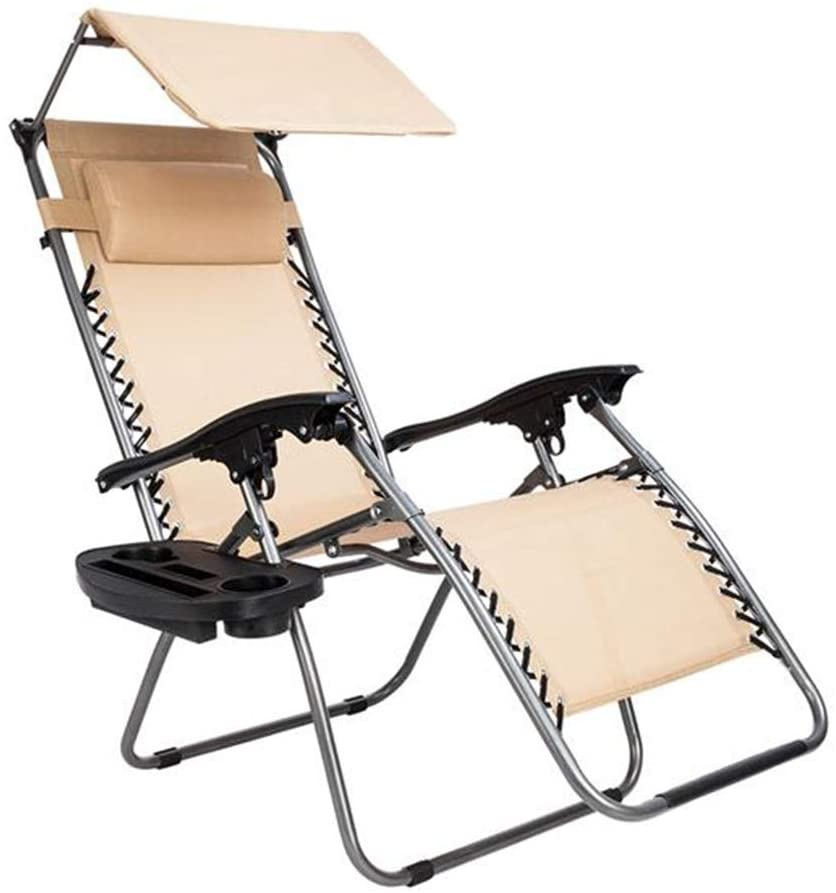 Zero Gravity Chair, Foldable Patio Chairs Recline Lounge Chair with Canopy Shade Pillow and Cup Holder Accessory Tray, Indoor Outdoor Awning Leisure Chair,Khaki