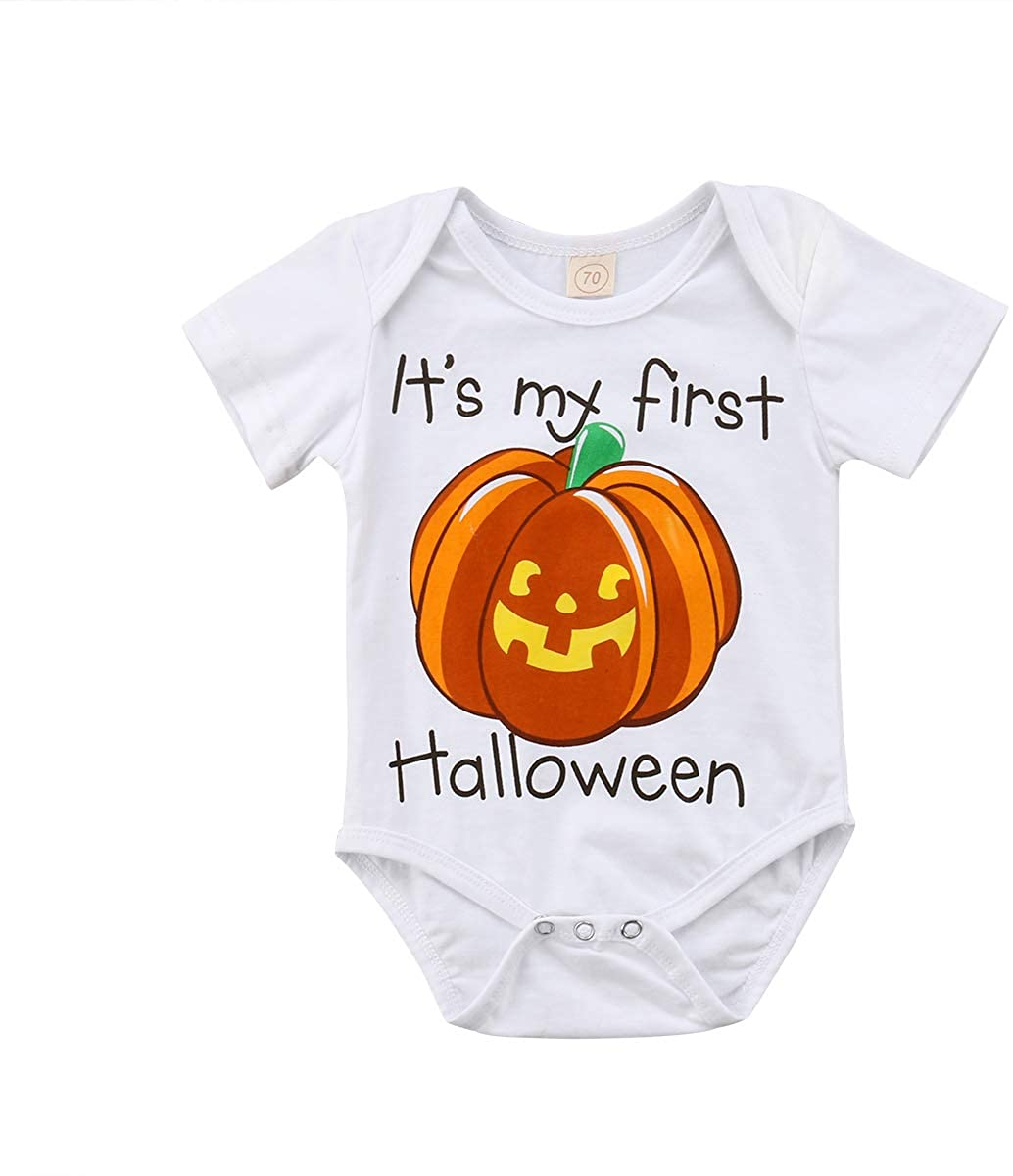 Newborn Baby Girl Boy My First Halloween Bodysuit Romper Short Sleeve Shirt Tops