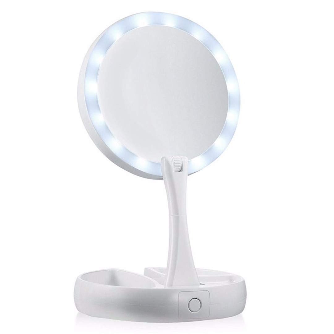 Portable Round Foldable LED Makeup Mirror Women Facial Make Up Mirror Table Desktop Cosmetic Mirrors Tools Gift