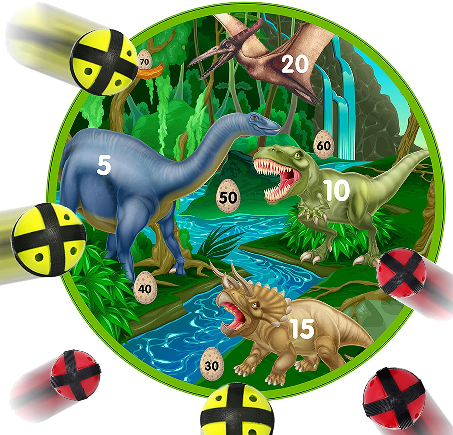 Fun Dinosaur Dart Board Game with 6 Balls Using Hook-and-Loop Fasteners | Learn Numbers, Math and Dinosaurs | Interactive Game and Safe for Kids