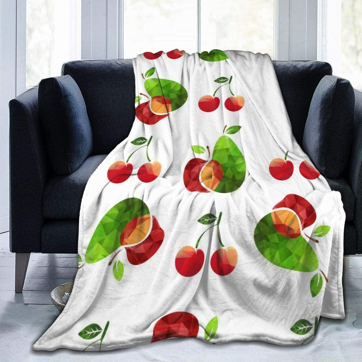 Micro Fleece Plush Soft Baby Blanket Beautiful Cute Cherry Pear Watercolor Fruit Fluffy Warm Toddler Bed/Crib Blanket Lightweight Flannel Daycare Nap Kids Sleeping Tummy Time Throw Blanket Girls Boy K
