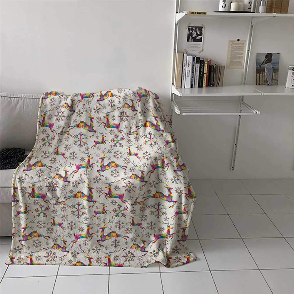 Soft Blanket Christmas Themed Rainbow Snowflakes and Animals Pattern Geometric Polygonal Design All Seasons Thin Quilt to Keep Adults, Children, Warm on Cool Nights Multicolor 60 x 80 Inch