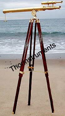THORINSTRUMENTS (with device) Vintage Solid Brass Brown Tripod Port Marine Navy Double Barrel Telescope