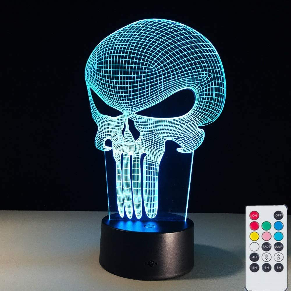 Punisher 3D Illusion Lamps Nightlight for Kids, Remote 7 Colors Table Desk Lamps Xmas Decoration Lights for Nursery Toddler Room
