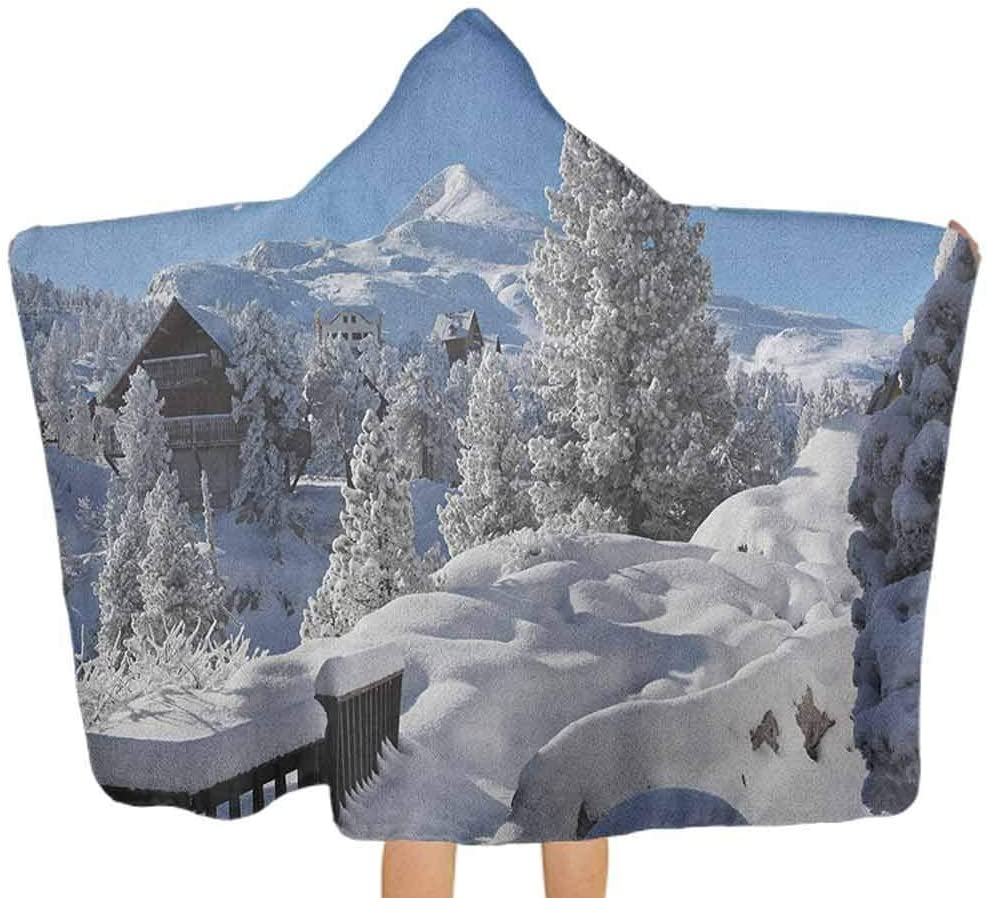 Hooded Baby Towel Winter Season in the North American Countryside Snow Covered Fields Trees Hooded Baby Towel Washcloth Ultra Soft, 100% Cotton, Super Absorbent White Sky Blue Brown 51.5x31.8 Inch