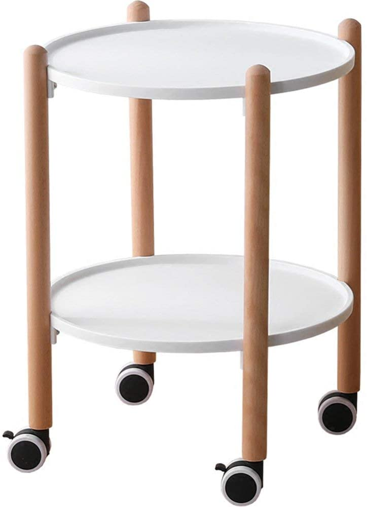 GWW Perfect FurnitureMove The Side Table, Coffee Table Trolley Circular Mobile Dining Car Lazy Table Stylish White Black |414156CM Tea Table (Color : Black)