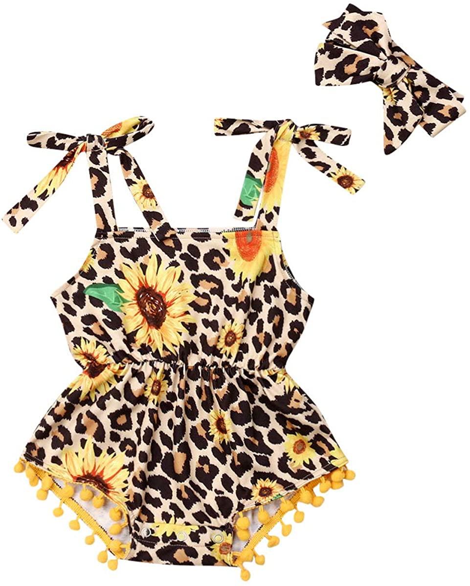 Toddler Baby Girls Sunflower Leopard Print Romper Pompom Tassel Jumpsuit Casual+Headband Clothes Set