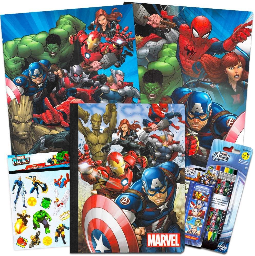 Marvel Avengers School Supplies Value Pack ~ 7 Pcs (Folders, Notebook, Pencils, Pen, and More)