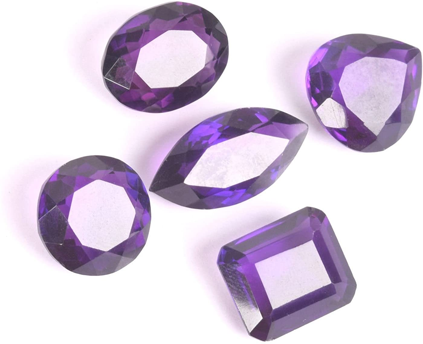 February Birthstone 70 Ct. Approx / 5 Pcs Different Cuts Attractive Violet Amethyst Loose Gemstones Lot