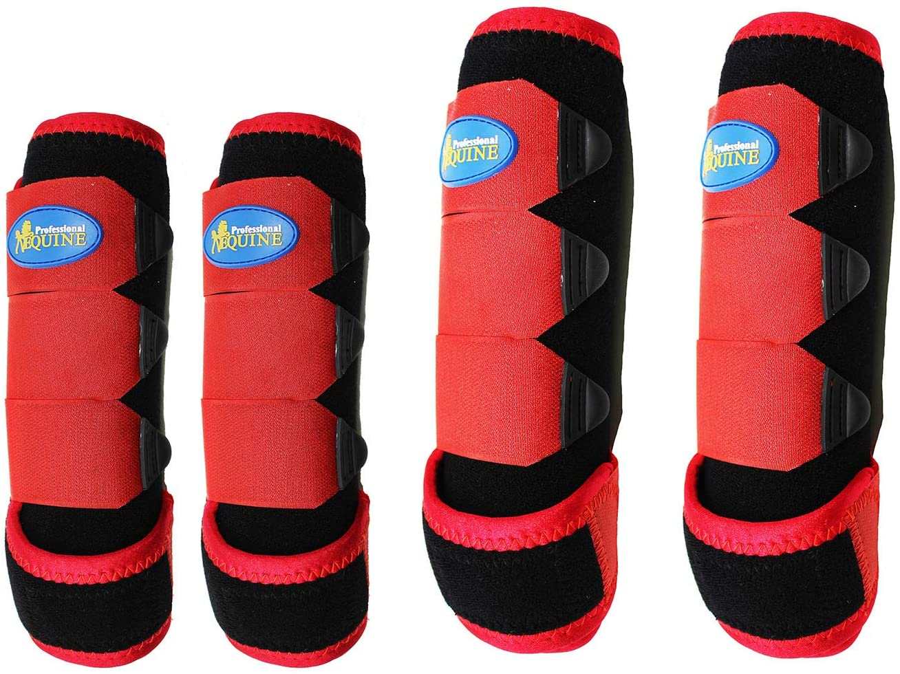 Professional Equine Horse Medium Sports Medicine Splint Boots Black Red 4110C