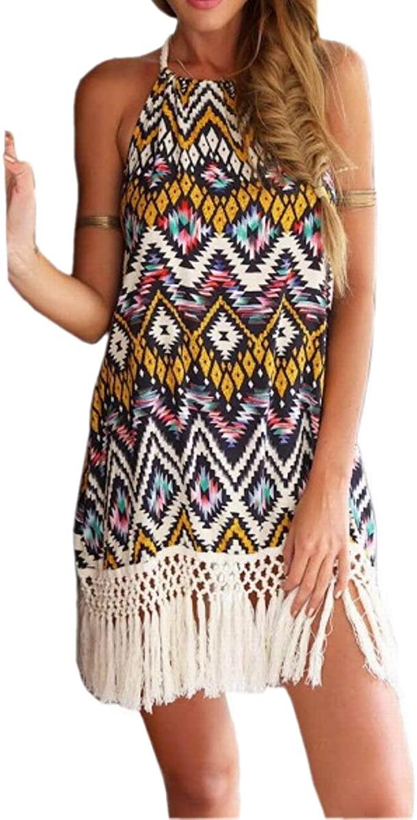 JJ-GOGO Multicolor Floral Print Tassel Halter Backless Bohemia Dress