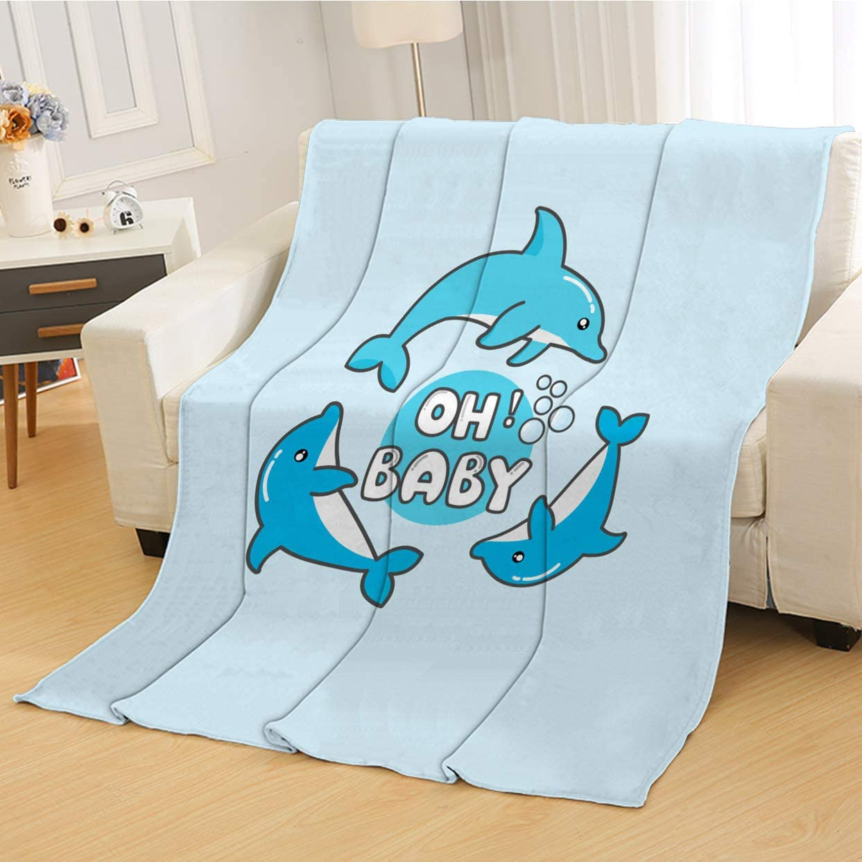 RLDSESS Cartoon Soft Baby Blanket, Soft Weighted Blanket,Cute Cartoon Dolphin and Baby Illustration,Super Soft Blanketry for Bed Couch,Baby Size: 31Wx47L inch