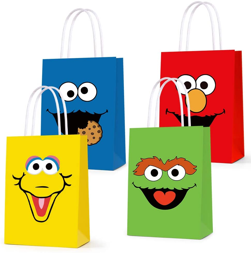 16 PCS Party Favor Bags for Sesame Friends Street Birthday Party Supplies, Party Gift Goody Treat Candy Bags for Sesame Friends Street Party Favors Birthday Party Decor for Party Girls Kids Birthday