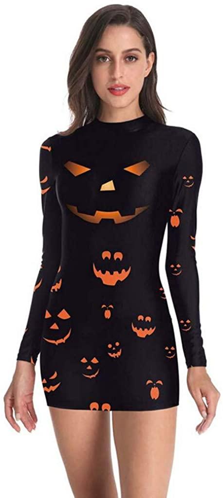 Auimank Women Long Sleeve Pumpkins Print Halloween Evening Prom Costume Swing Dress