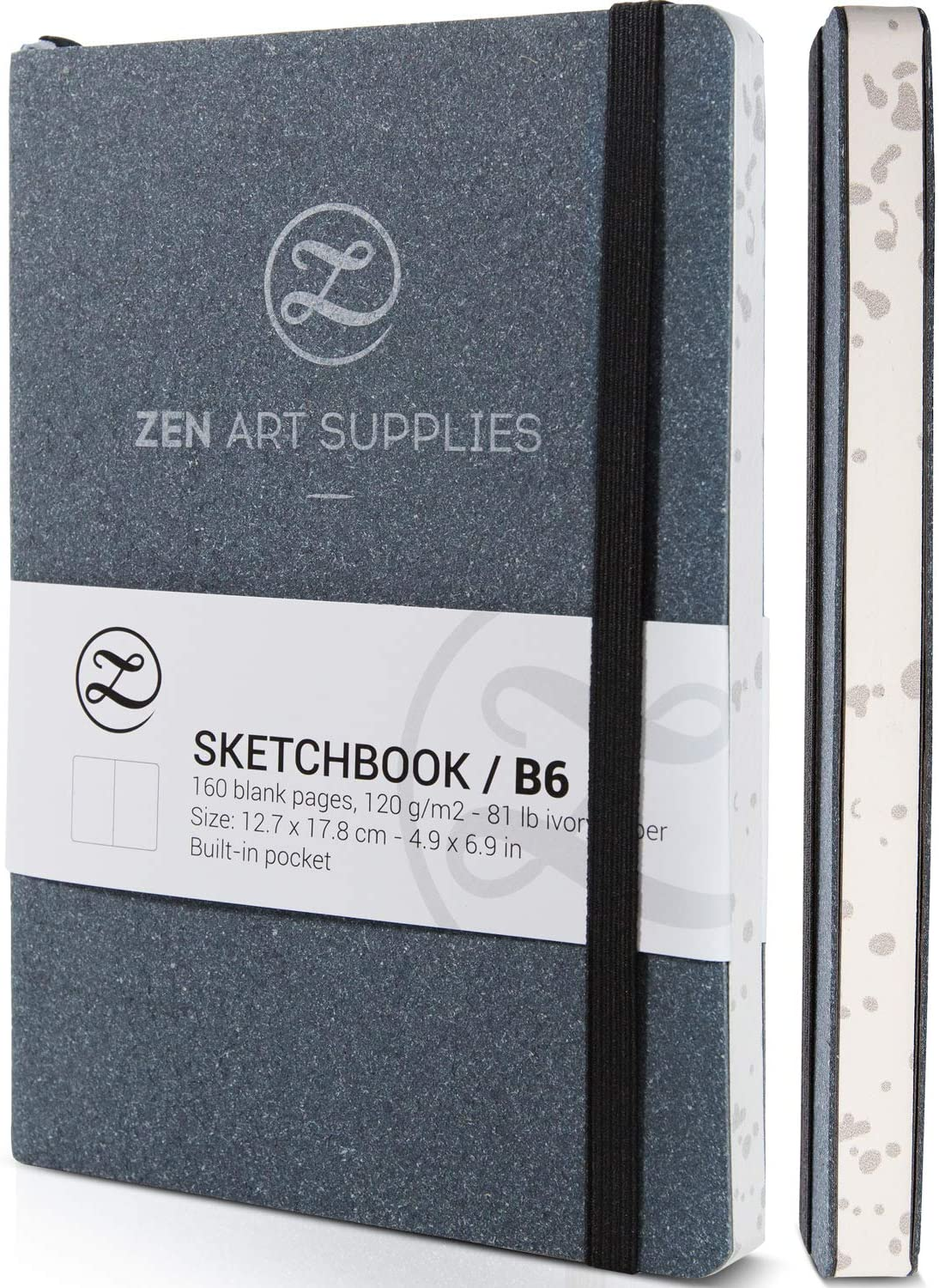 ZenART Leather Sketchbook Journal for Artists - 160 Blank Pages of 120 GSM Acid-Free Ivory Paper – B6 5 x 7-inch Lay Flat Biodegradable Pocket Book for Mixed Media Drawing, Watercolor or Ink