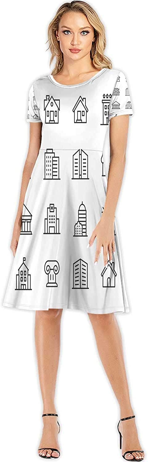 Building Line Icons.able Stroke.Pixel Perfect.for Mobile and Web.Contains Such Icons as Building,Women's Floral Maxi Dre