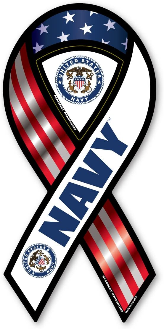 2-in-1 Red, White, and Blue Navy Ribbon Magnet