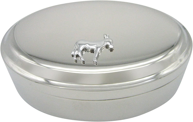 Kiola Designs Silver Toned Donkey Pendant Oval Trinket Jewelry Box