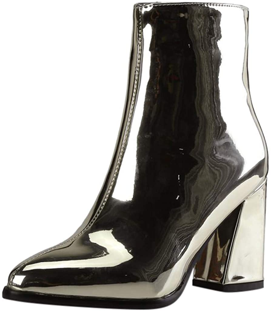 LATINDAY Women's Block High Heel Platform Patent Leather Ankle Boots with Zip up Booties Shoes