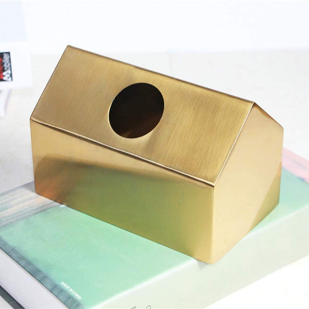 Kuku Get Brass Nordic Style Tissue Box Living Room House Tray Tray Gold Creative Home Decoration Ornaments Day (Size : B)