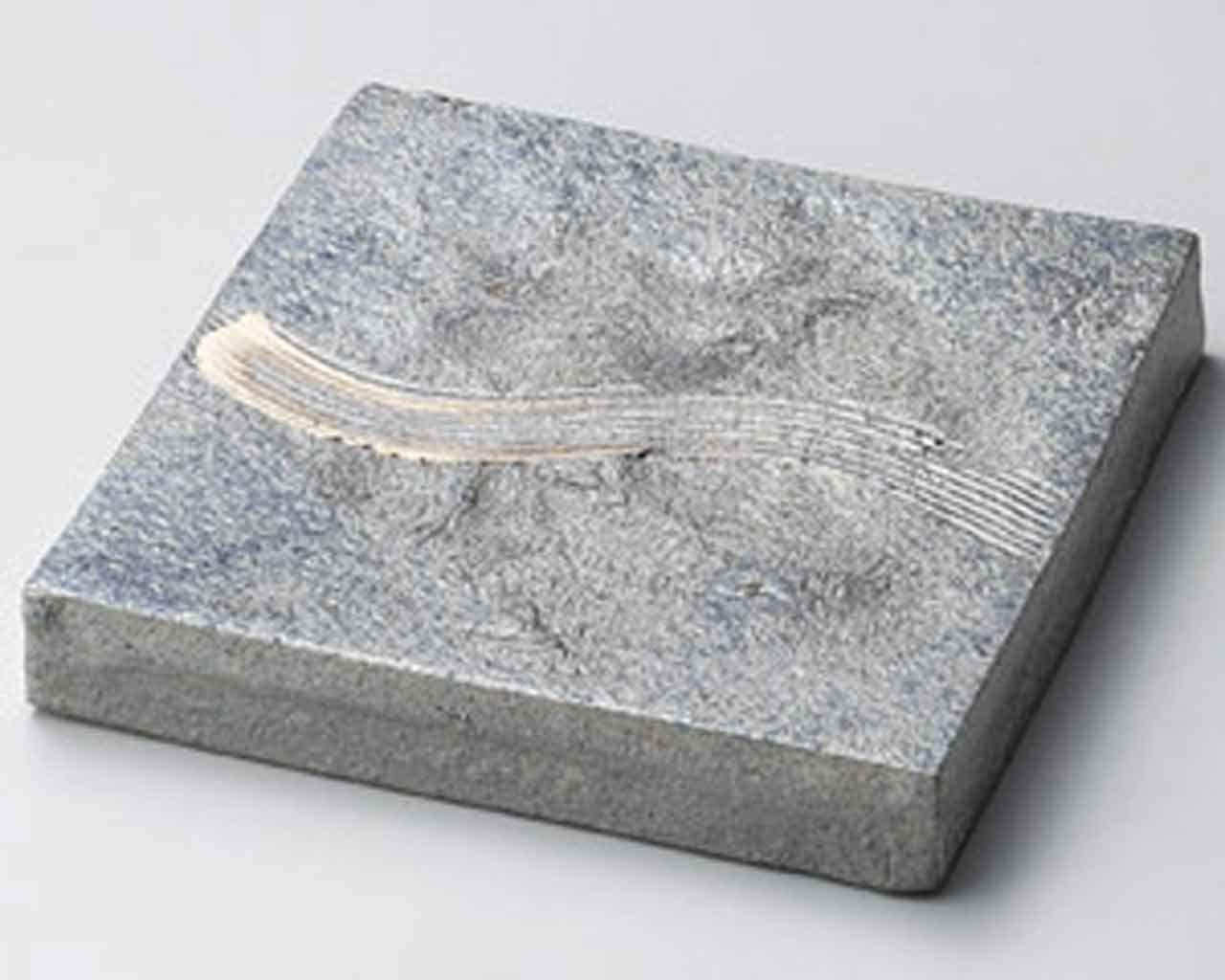 Yohen Kushime 8.1inch Medium Plate Grey Ceramic Made in Japan