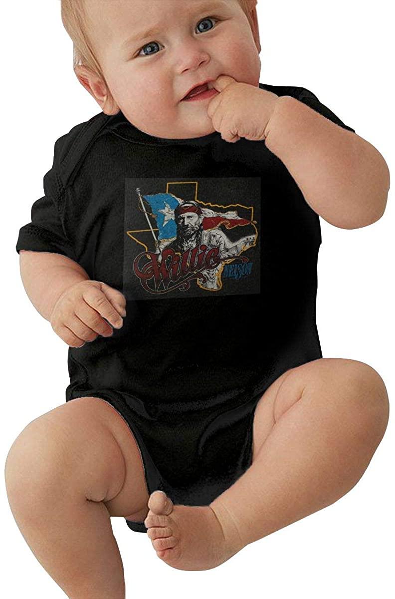 MaMing Willie Nelson Unisex Baby Leotard Cute Short Sleeve T-Shirt Black