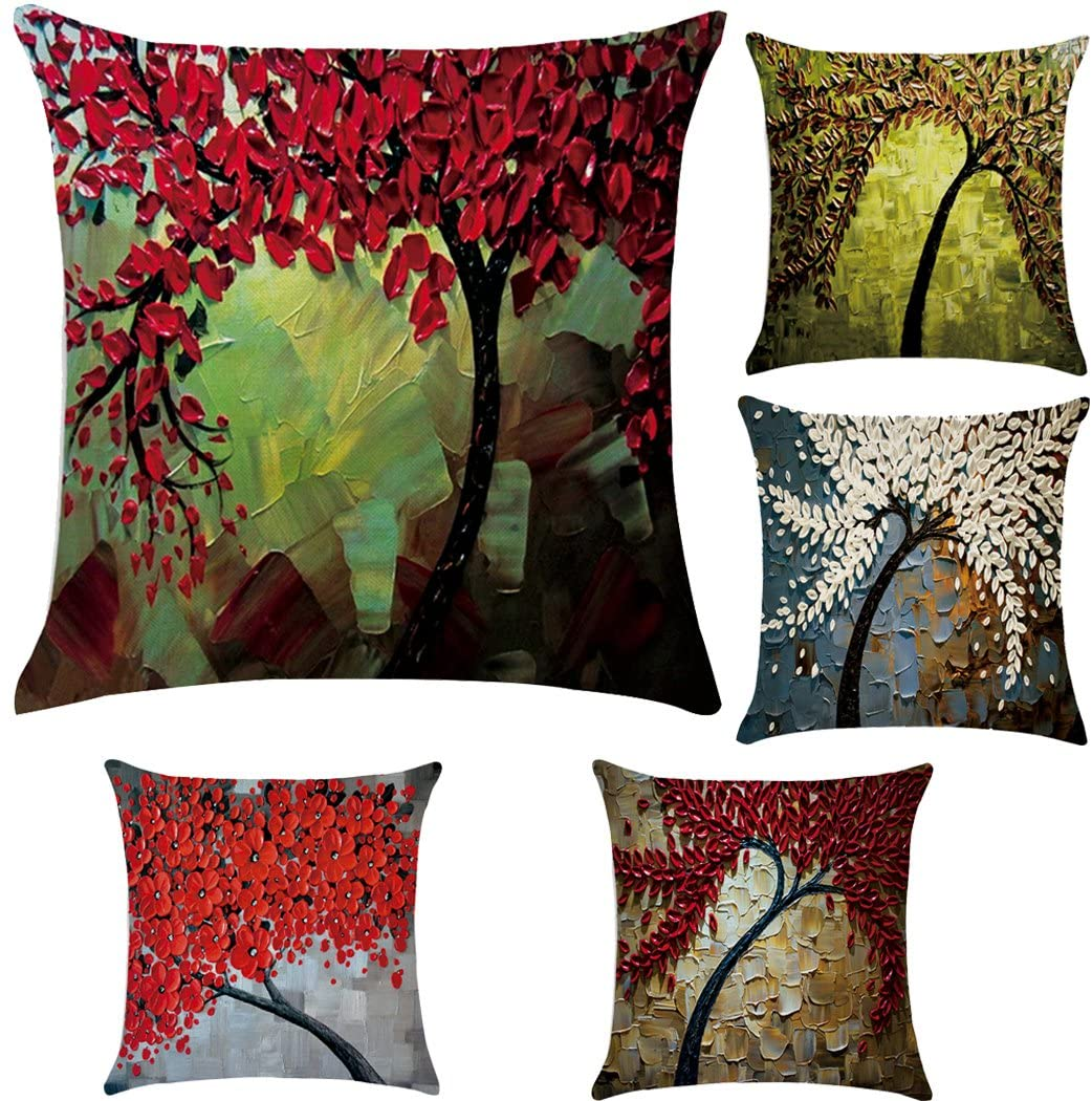 Polyester Throw Pillow Case Cushion Cover Home Sofa Decorative(Cover Only,No Insert) (18x18 inch/ 45x45cm,5 Pack Oil Painting)