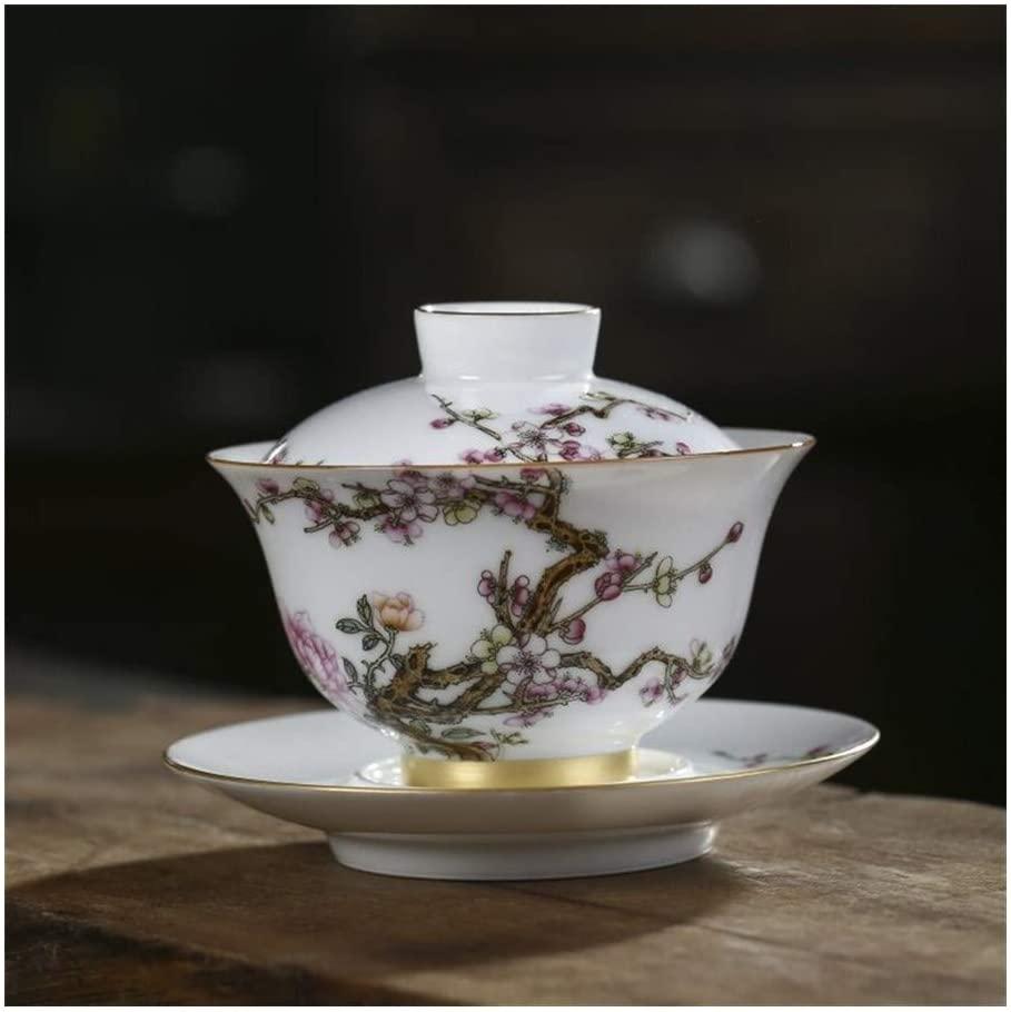 MADONG Ceramic handmade boutique handmade jade tureen with God tureen mud pastel tea bowl gilt tureen (Color : Natural)