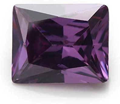 50PCS 2x3~13x18MM AAAAA Rectangle Amethyst Loose Cubic Zirconia CZ Stone Synthetic Gemstone (6x8mm 50pcs)