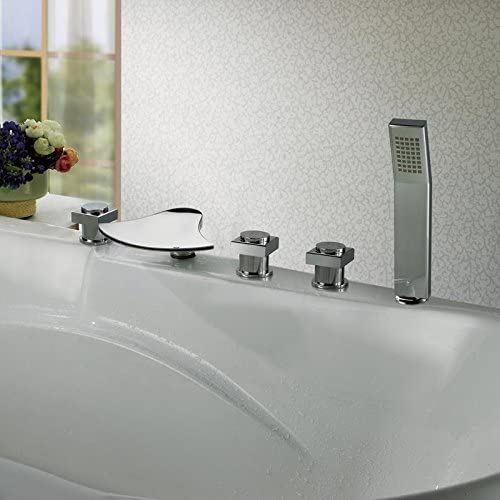 XIE All - copper LED temperature control color bathtub five - piece large waterfall foreign trade hot and cold water faucet